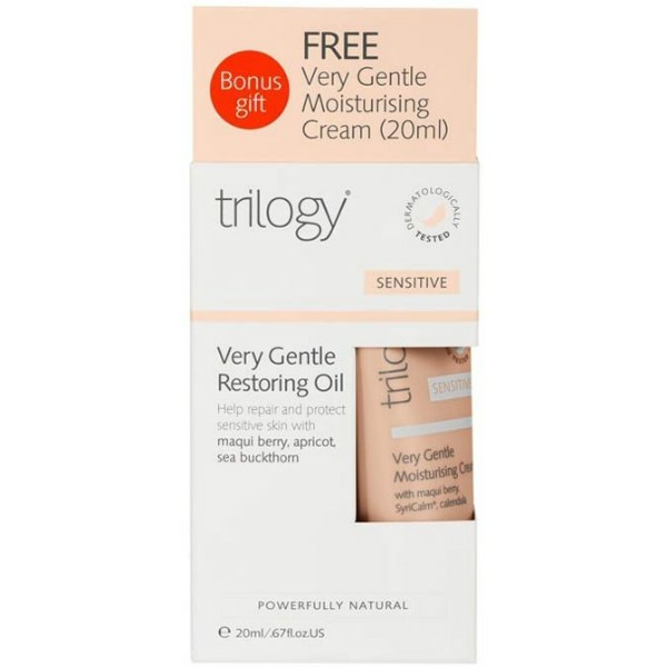 Trilogy Sensitive Very Gentle Restoring Oil 30ml WITH FREE Very Gentle Moisturising Cream 20ml